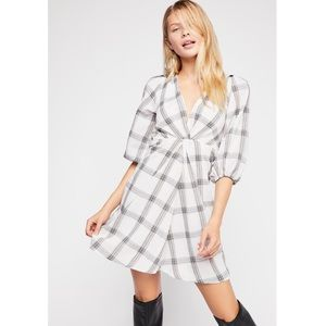 Free People Miss Molly Plaid Dress White NWOT